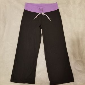 Lululemon Yoga Luon Capris with Purple Waistband